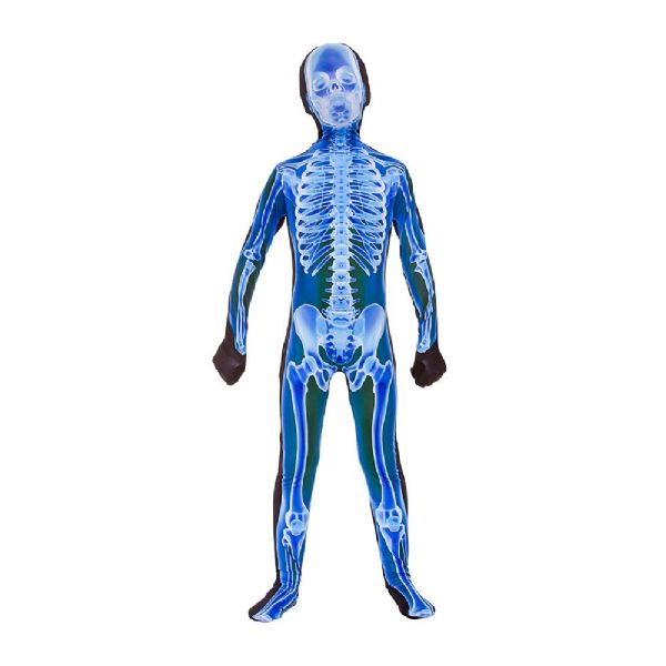 Adults & Childrens Skeleton X- Ray Skinz Costume Boys Mens Halloween Fancy Dress